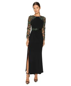 Marchesa | Fitted Stretch Crepe Gown With Crystal Embroide Raglan Sleeves