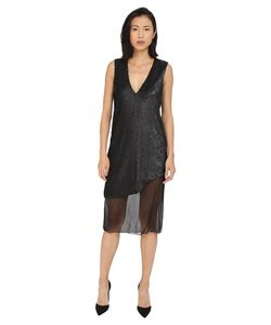 Prabal Gurung | Dusted Pailette Sleeveless Dress W/ Sheer Overlay