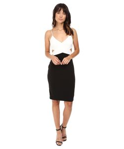 Badgley Mischka | Color Block Cut Out Stretch Dress Ivory