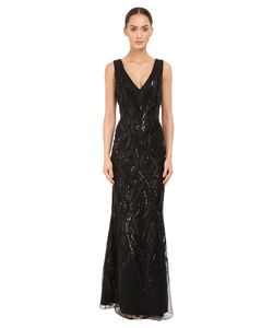 Marchesa Notte | Sleeveless V-Neck Gown With Sequin And Ribbon Embroidery
