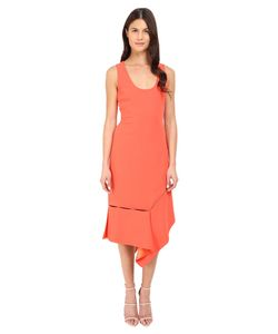 Prabal Gurung | Crepe Asymmetrical Hem Dress Vermillion Womens Dress