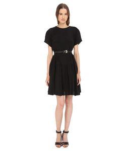 Vera Wang | Short Sleeve Pleated Peasant Dress Dress