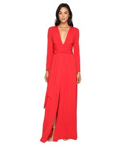 Halston Heritage | Long Sleeve Jersey Gown With Tie And Front