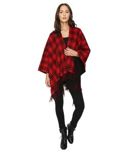 The Kooples   Double-Sided Wool Check Poncho With Lining
