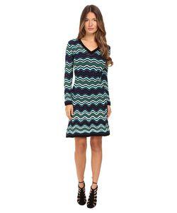 M Missoni | Long Sleeve V-Neck Ripple Stitch Dress Teal