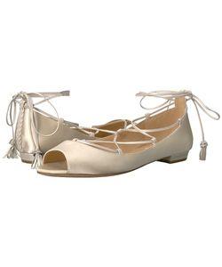 Badgley Mischka   Bloom Ivory Satin Flat Shoes