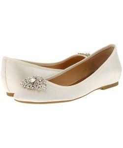 Badgley Mischka | Abella Ivory Satin Womens Flat Shoes