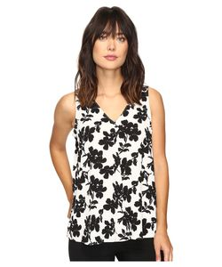 Vince Camuto | Sleeveless Small Fresco Blooms Drape Front Blouse New