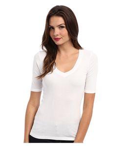 Splendid   1x1 Half Sleeve V-Neck Top T Shirt