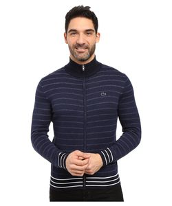 Lacoste | Long Sleeve Double Face Chine Stripe Zip Cardigan Midnight