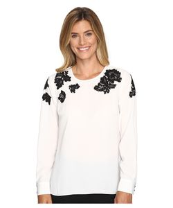 Vince Camuto | Long Sleeve Blouse With Sequin Lace Applique New