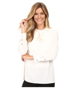 Vince Camuto | Long Sleeve Tie Neck Pleated Tuxedo Blouse Antique