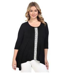 Karen Kane Plus   Plus Size Lace Panel Handkerchief Top /Off-