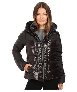 Duvetica | Angusina Inset Quilted Down Hooded Jacket Nero Coat