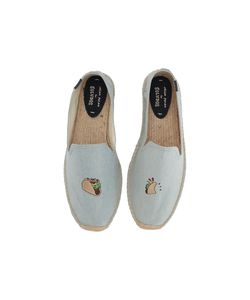 Soludos | Embroidered Smoking Slipper Chambray Flat Shoes