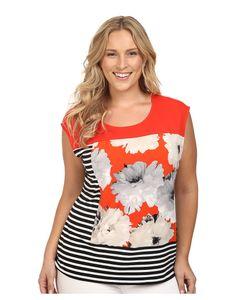 Calvin Klein Plus   Plus Size Mixed Print Tee Tango Multi