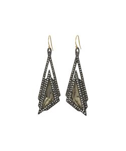 Alexis Bittar   Crystal Stepped Fancy Pyramid Wire Earrings Ruthenium Earring