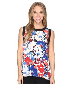 Vince Camuto | Sleeveless Nautical Blooms Blouse With Solid Contrast Antique