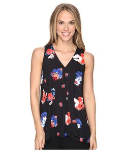 Vince Camuto | Sleeveless V-Neck Travel Blooms Drape Front Blouse Rich