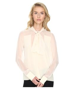 Prabal Gurung | Long Sleeve Tie Neck Blouse Ivory Womens Blouse