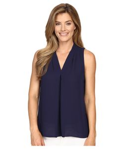 Vince Camuto | Sleeveless V-Neck Blouse W Inverted Front Pleat Evening