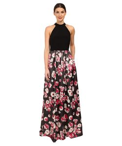 Adrianna Papell | Jersey Halter Bodice And Jacquard Skirt Multi