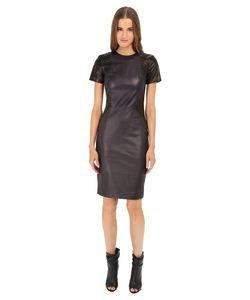 Prabal Gurung | Leather Short Sleeve Dress Navy/ Womens Dress
