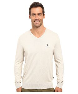 Nautica | Solid V-Neck Sweater Oatmeal Heather Sweater