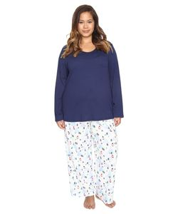 Jockey | Plus Size Knit Two-Piece Pajama Set Skiing Gnomes Womens