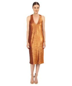 Prabal Gurung | Dusted Paillette Sleeveless Dress Saffron Womens Dress