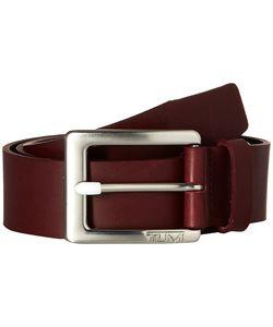 Tumi | Casual Leather Belt Nickel Satin/Burgundy Belts
