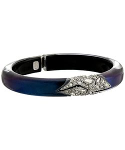 Alexis Bittar   Crystal Encrusted Mosaic Lace Hinge Bracelet Velvet