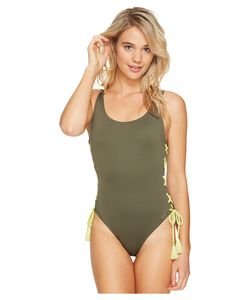 Vince Camuto | Lace-Up Solids U-Neck One-Piece Dark Sage Swimsuits