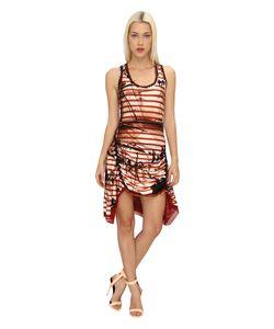 Jean Paul Gaultier   Striped Side-Ruched Dress Rosso Womens Dress