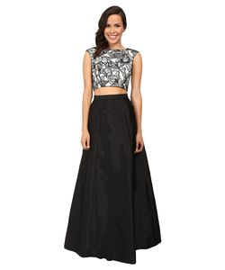 Aidan Mattox | Two-Piece Embroide Cap Sleeve Top W/ A-Line Taffetta