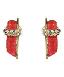 Alexis Bittar   Crystal Encrusted Minimalist Post Earrings Fire Opal Earring