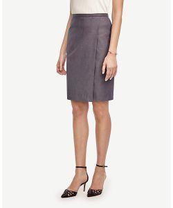 Ann Taylor | Petite Sharkskin Wrap Skirt