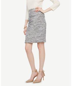 Ann Taylor | Petite Grid Fringe Tweed Pencil Skirt
