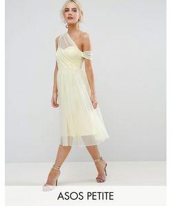 ASOS Petite   Dobby Mesh One Shoulder Prom Dress