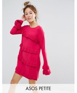 ASOS Petite   Dress With Ruffle And Fluted Sleeve