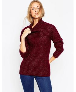 ASOS   Premium Rib Stitch Sweater In Mohair With Funnel Neck