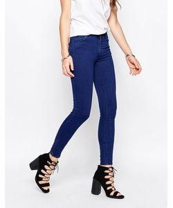 Just Female | Mid Rise Storm Skinny Jeans In Pure Blue
