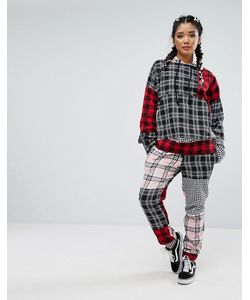 Jaded London | Tracksuit Bottoms In Patchwork Check Co-Ord