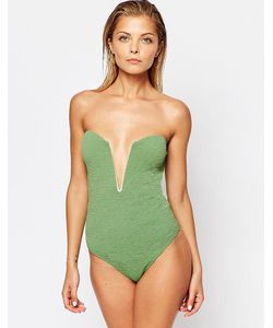 Beach Riot | Stone Cold Fox For Textured Deep V Plunge Swimsuit