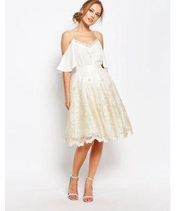 Chi Chi London | Premium Metallic Lace Midi Skirt