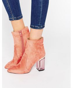 Public Desire | Cate Pink Clear Heel Ankle Boot