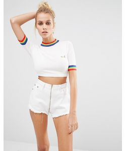 Unif | Rainbow Trim Cropped Knit Top