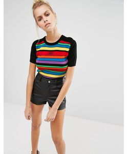 Unif | Rainbow Stripe Cropped Knit Top