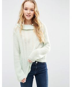 ASOS   Sweater With Ruffle Neck In Mohair Yarn