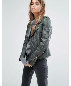 Goosecraft | Double Zip Leather Biker Jacket With Shoulder Tabs